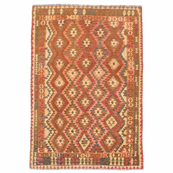 Herat Oriental Afghan Hand-woven Wool Mimana Kilim (5'4 x 7'10)