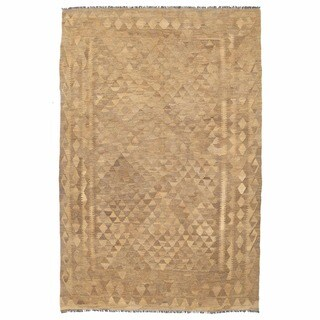 Herat Oriental Afghan Hand-woven Mimana Kilim Ivory/ Tan Wool Rug (5'2 x 8')