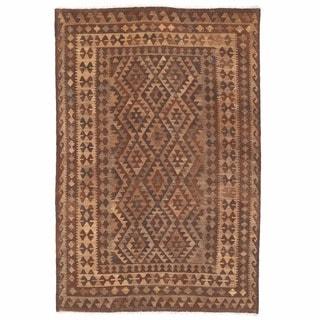 Herat Oriental Afghan Hand-woven Mimana Kilim Ivory/ Beige Wool Rug (5'6 x 8'4)