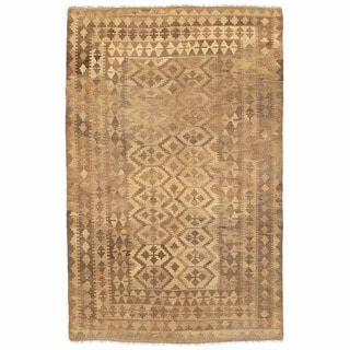 Herat Oriental Afghan Hand-woven Mimana Kilim Ivory/ Beige Wool Rug (5' x 7'10)