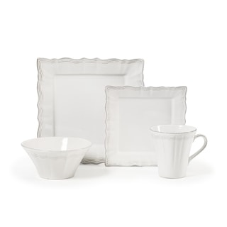 Mikasa Alviano White/Silver Stoneware Place Setting (Pack of 4)