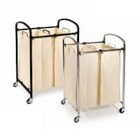 Seville Classics Mobile 2-Bag Heavy-Duty Laundry Hamper Sorter Cart