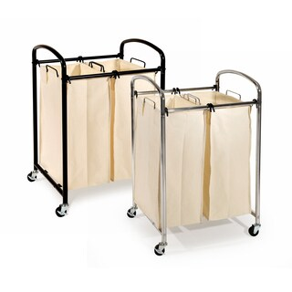 Seville Classics 2-Bag Laundry Sorter, Chrome or Black