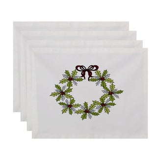 18 x 14-inch Traditionalal Holly Wreath Floral Print Placemat (Set of 4)