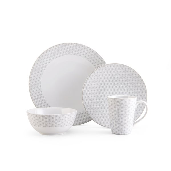 Shop Mikasa Avery Star White/Grey Textured 4-piece Place Setting ...