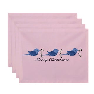 18 x 14-inch Merry Christmas Birds Word Print Placemat (Set of 4)