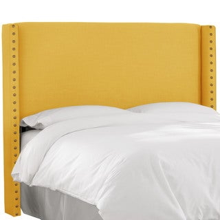 Skyline Furniture Linen French Yellow Nail Button Wingback Headboard