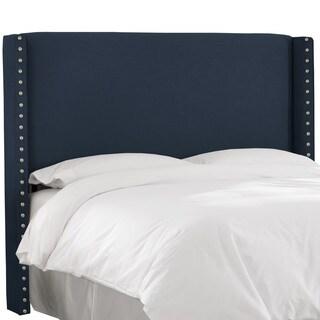 Skyline Furniture Navy Linen Nail Button Wingback Headboard