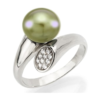 DaVonna Sterling Silver Adjustable Ring 8-9mm Apple Green Cultured Pearl with .10tcw Cubic Zirconia