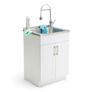 WYNDENHALL Hartland 24-inch Laundry Cabinet with Faucet and Stainless Steel Sink