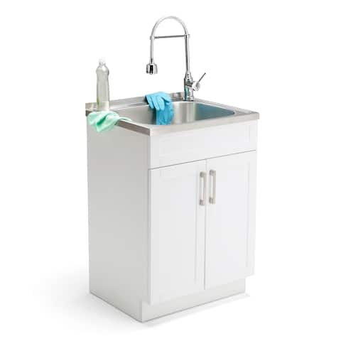 WYNDENHALL Hartland Contemporary 24 inch Laundry Cabinet with Faucet and Stainless Steel Sink - 23.6'' W x 52'' H x 19.7'' D