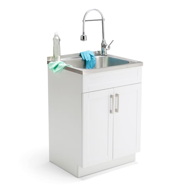 ... Hartland 24-inch Laundry Cabinet with Faucet and Stainless Steel Sink