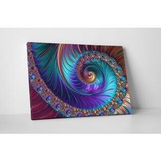 'Peacock-esk Spiral' Gallery-wrapped Abstract Canvas Wall Art