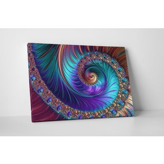 U0027Peacock Esk Spiralu0027 Gallery Wrapped Abstract Canvas Wall Art