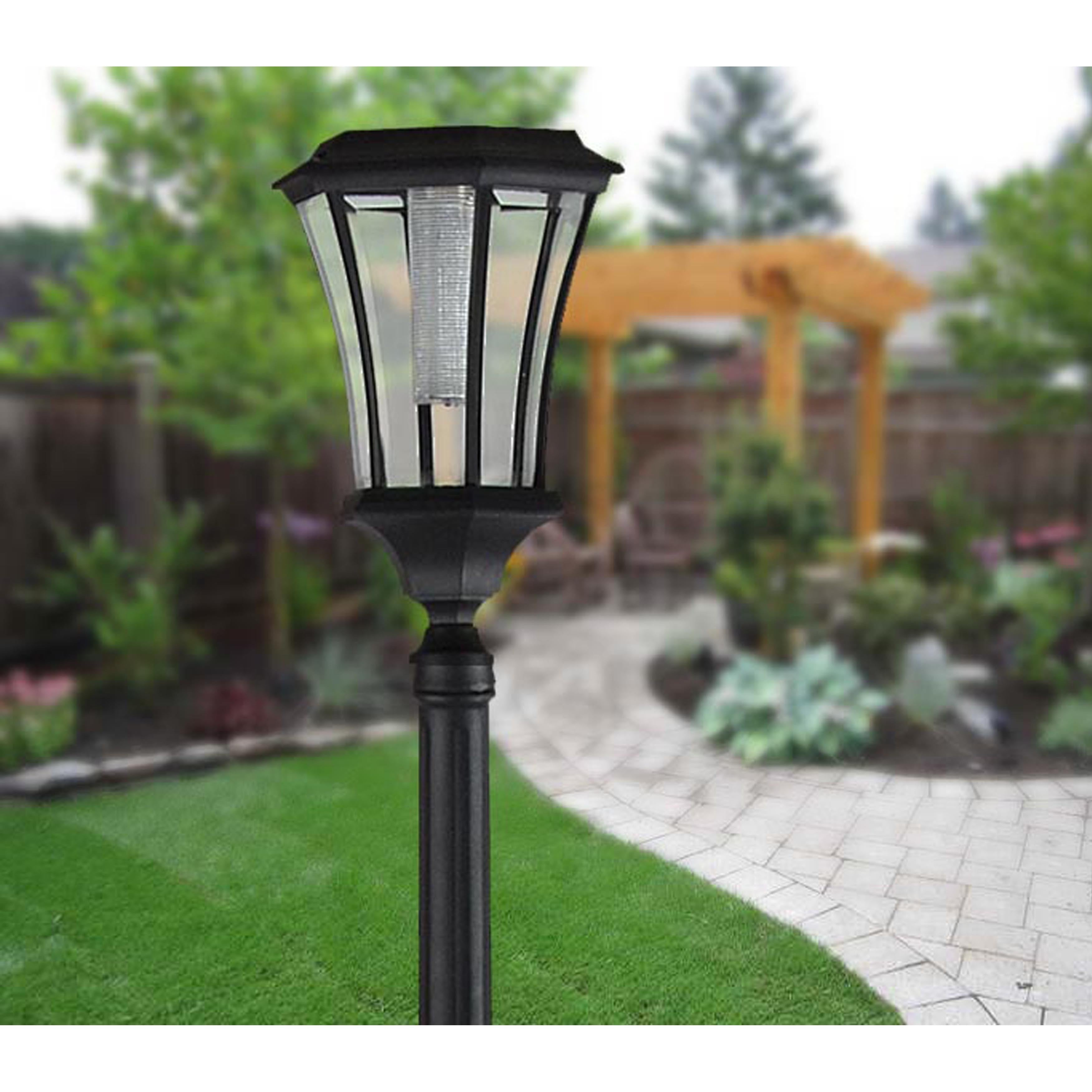 Global Abigail Solar Lamp Post with Planter (302001), Bla...