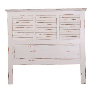 Bramble Co. Queen White Distressed Mahogany Shutter Panel Headboard