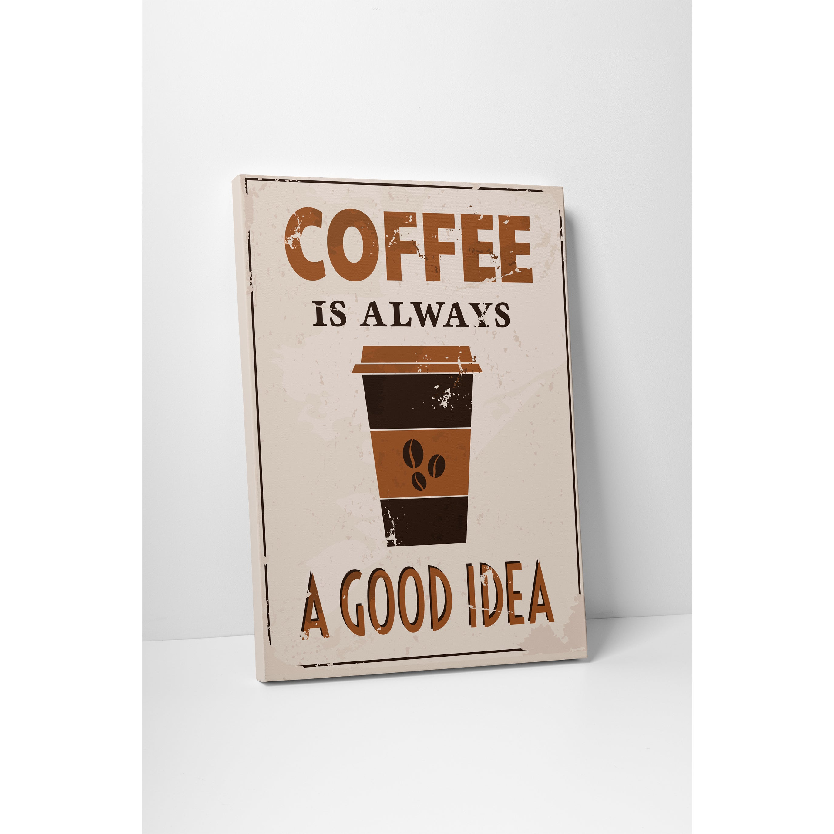 Vintage Metal (Grey) Signs 'Coffee is Always a Good Idea'...