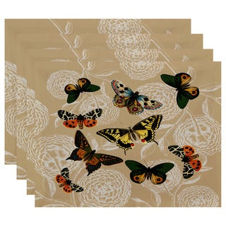 18 x 14-inch Antique Butterflies and Flowers Animal Print Placemat (Set of 4)