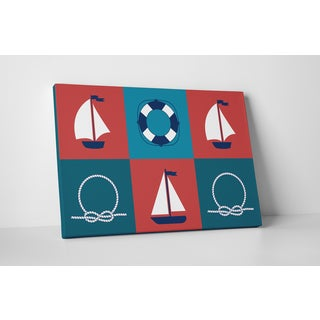 'Nautical Print Rectangles' Gallery Wrapped Canvas Wall Art