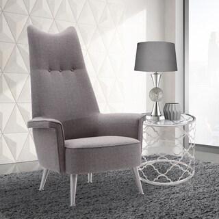 Armen Living Danka Brushed Steel Finish Grey Fabric Chair