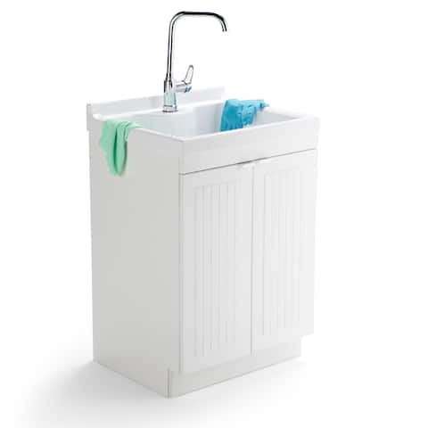 """WYNDENHALL Bishop Traditional 24 inch Laundry Cabinet with Faucet and ABS Sink - 23.6"""" W x 20.2"""" D x 36.5"""" H"""