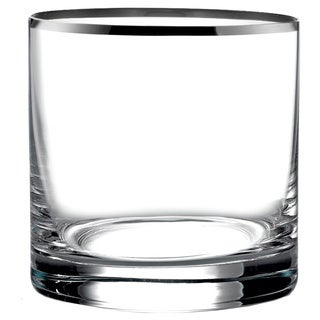 Fitz Floyd Michel Clear/Silver Glass 13.9-ounce Old-fashioned Glasses (Pack of 4)