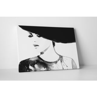 Fashion 'Look of Indifference' Black and White Gallery-wrapped Canvas Wall Art