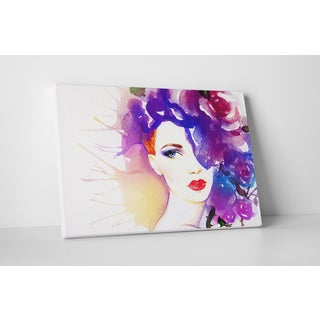 Fashion 'Rose in Hair II' Gallery Wrapped Canvas Wall Art