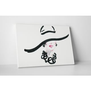'Black Lines Hat' Gallery-Wrapped Canvas Fashion Wall Art