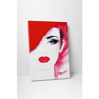 Red Hair Red Lips' Fashion Gallery-wrapped Canvas Wall Art
