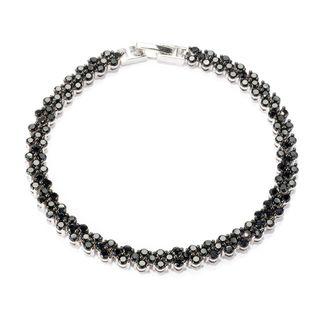 Sterling Silver 8 2/5ct TW Round Black Spinel Line Bracelet