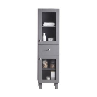 Everest Collection Grey/Black/White/Brown Glass/Maple/Wood Side Cabinet