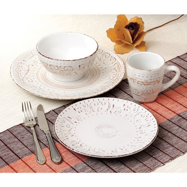 Lorren Home Trends Round 16-piece Distressed White Stoneware Dinnerware Set