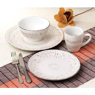 Lorren Home Trends Round 16 Piece Distressed White Stoneware Dinnerware Set