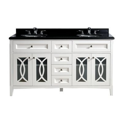 Shop grazia collection 60 inch double vanity with marble - Bathroom vanity with frosted glass doors ...