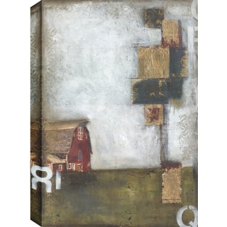 Hobbitholeco., Christina Lovisa, Red House, Abstract, Hand Applied Gel Brush Finish Canvas