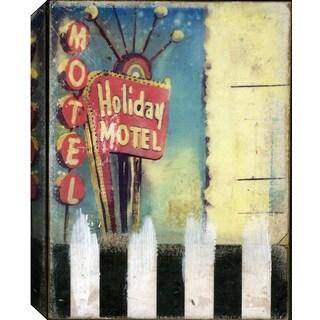 Hobbitholeco. Christina Lovisa, Holiday Motel, Abstract, Gel Brush Finish Canvas Wall Art Decor, Gallery Wrapped 18X24,