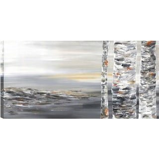 Hobbitholeco. Sanjay Patel, Beside the Trunk I Abstract, Gel Brush Finish Canvas Wall Art Decor, Gallery Wrapped 24X48