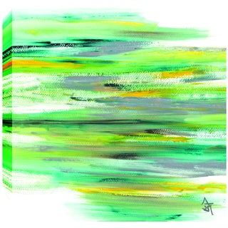 Hobbitholeco. Sanjay Patel, Green View Abstract, Gel Brush Finish Canvas Wall Art Decor, Gallery Wrapped 24X24