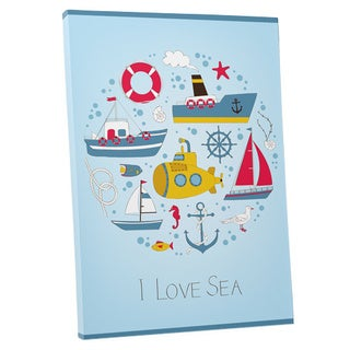 Children's 'I Love the Sea' Gallery-wrapped Canvas Wall Art