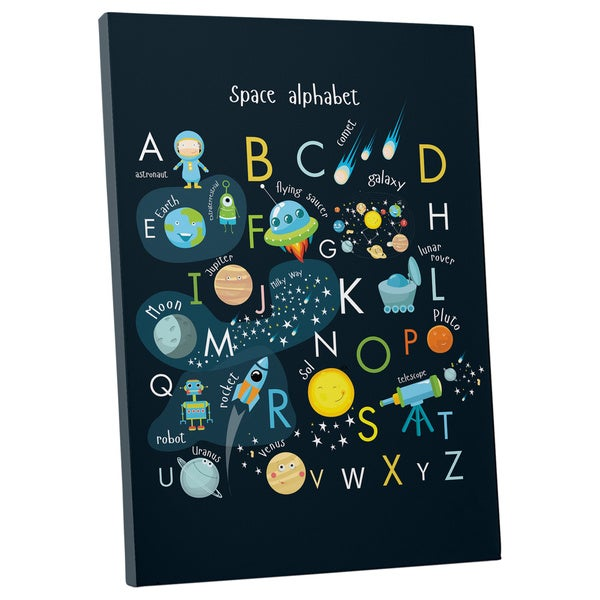 Space Themed Alphabet Gallery Wrapped Canvas Wall Art