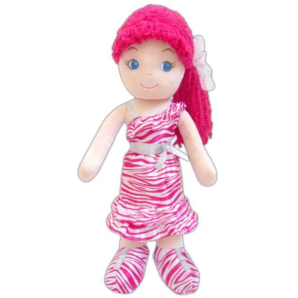GirlznDollz Leila White/Pink Fabric Glam Girl Zebra Print Doll