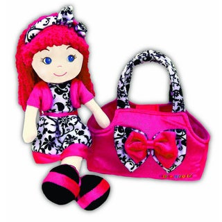 GirlznDollz Leila Holiday Glam Pink Fabric Doll with Bag