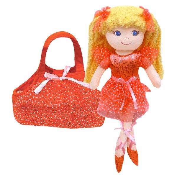GirlznDollz Cameron Peach Fabric Ballerina Doll with Purse