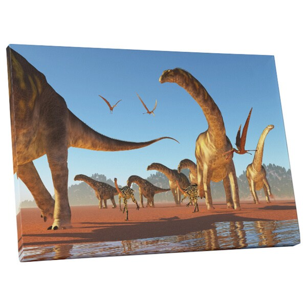 Shop Children\'s \'Dinosaur Migration\' Gallery Wrapped Canvas Wall Art ...