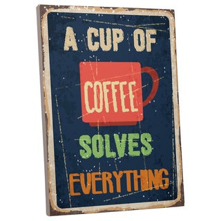 Vintage Metal Signs 'A Cup of Coffee' Gallery-wrapped Canvas Wall Art