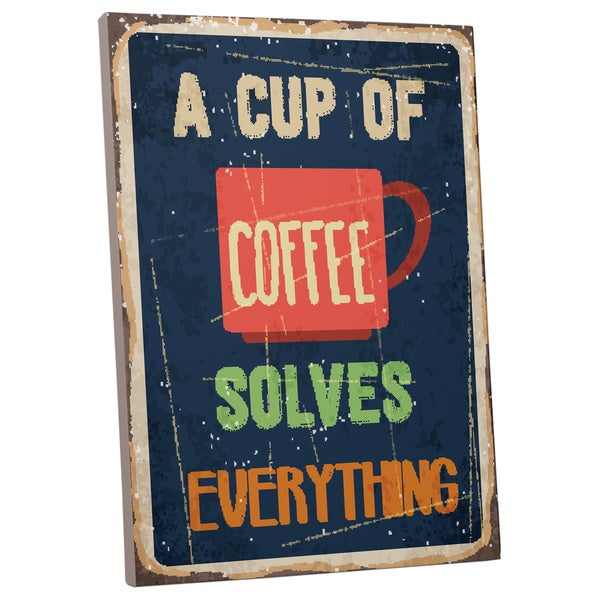 Set Of 3 Coffee Cup Canvas Wraps: Vintage Metal Signs 'A Cup Of Coffee' Gallery-wrapped