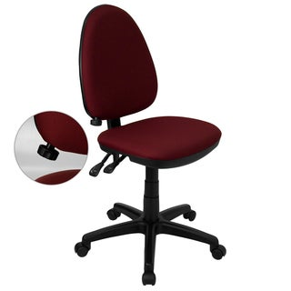 Amalan Burgundy/Black Fabric/Metal/Nylon Multi Functional Swivel Armless Office Chair with Adjustable Lumbar Support