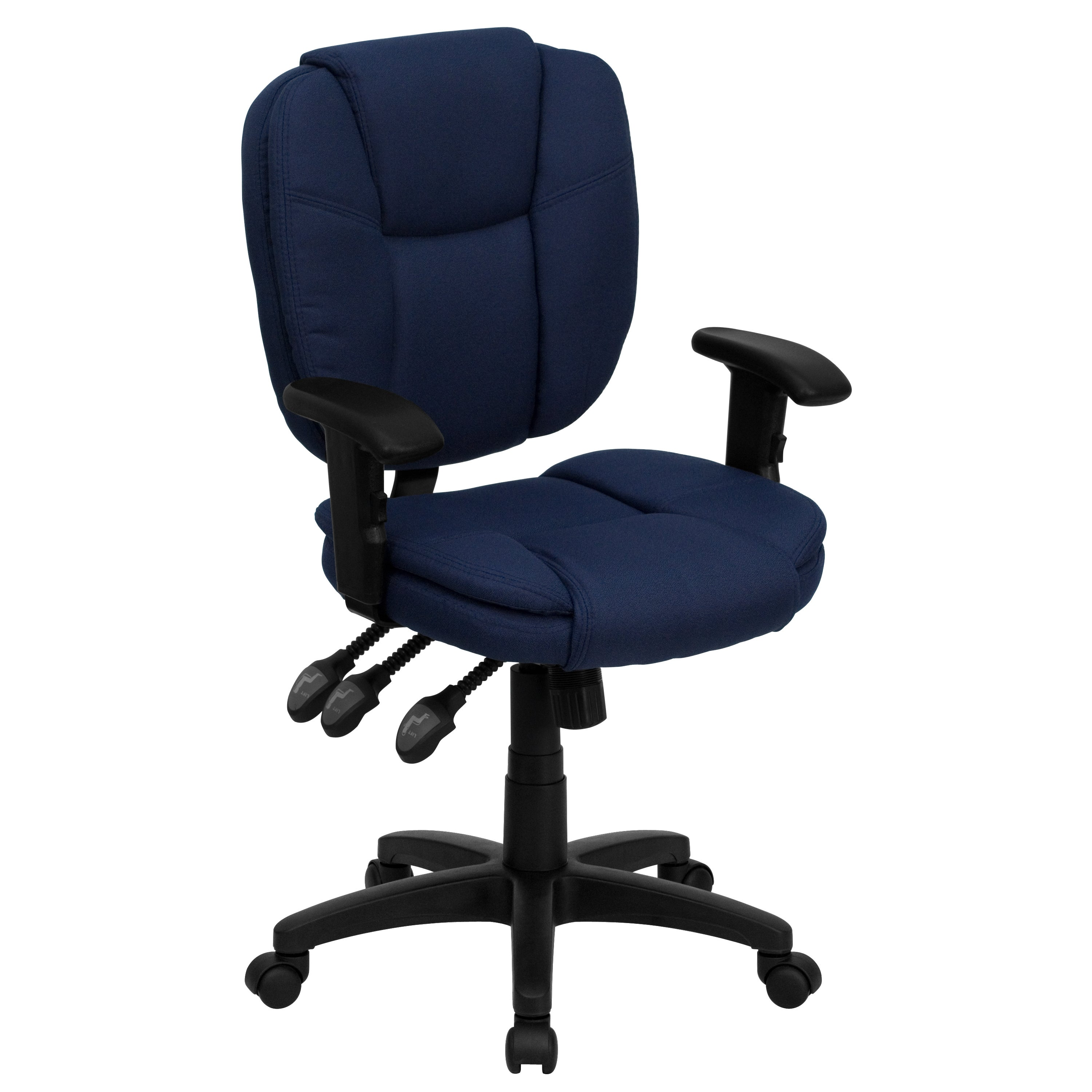Cornel Navy Blue Fabric Swivel Office Chair (1 Chair)