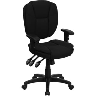 Cornel Black Fabric Multifunctional Swivel Office Chair With Height-adjustable Arms